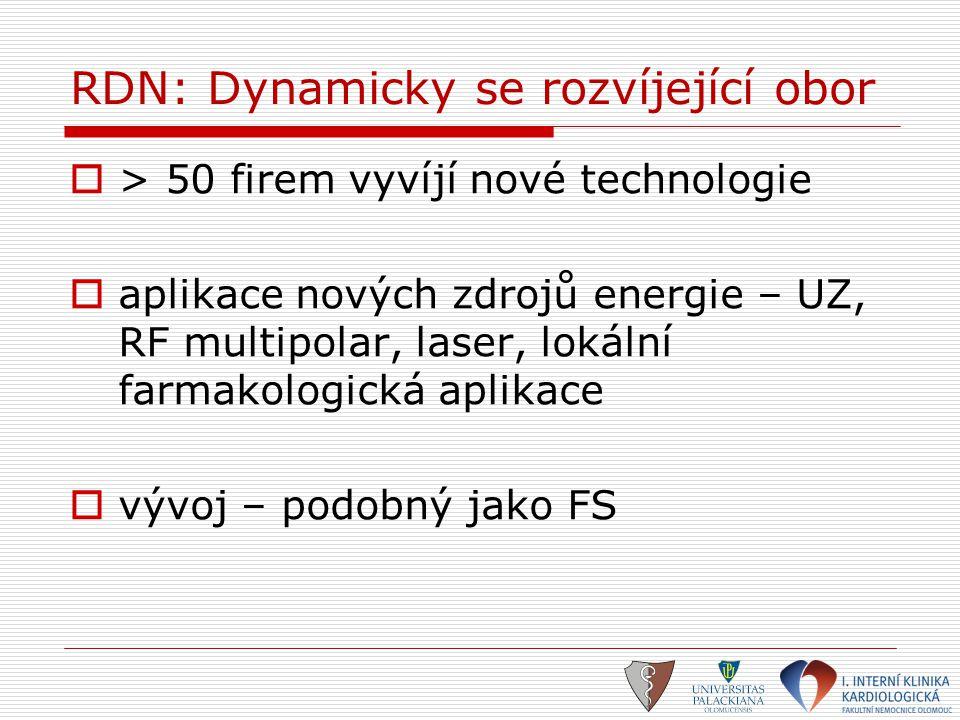 RDN: Dynamicky se rozvíjející obor  > 50 firem vyvíjí nové technologie  aplikace nových zdrojů energie – UZ, RF multipolar, laser, lokální farmakolo