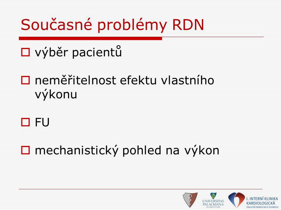 Současné problémy RDN  výběr pacientů  neměřitelnost efektu vlastního výkonu  FU  mechanistický pohled na výkon