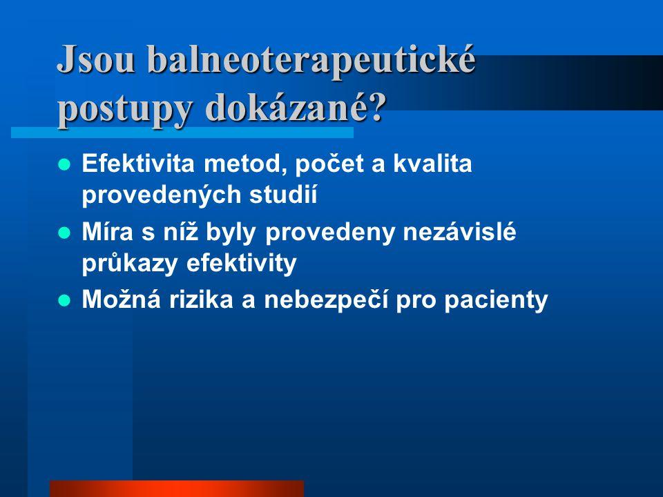 Jsou balneoterapeutické postupy dokázané? Efektivita metod, počet a kvalita provedených studií Míra s níž byly provedeny nezávislé průkazy efektivity