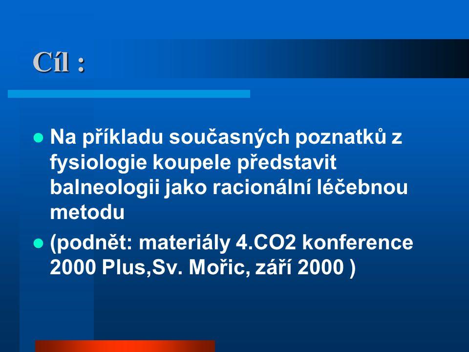 Cíl : Na příkladu současných poznatků z fysiologie koupele představit balneologii jako racionální léčebnou metodu (podnět: materiály 4.CO2 konference