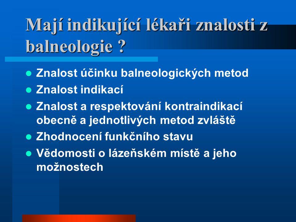 Mají indikující lékaři znalosti z balneologie ? Znalost účinku balneologických metod Znalost indikací Znalost a respektování kontraindikací obecně a j