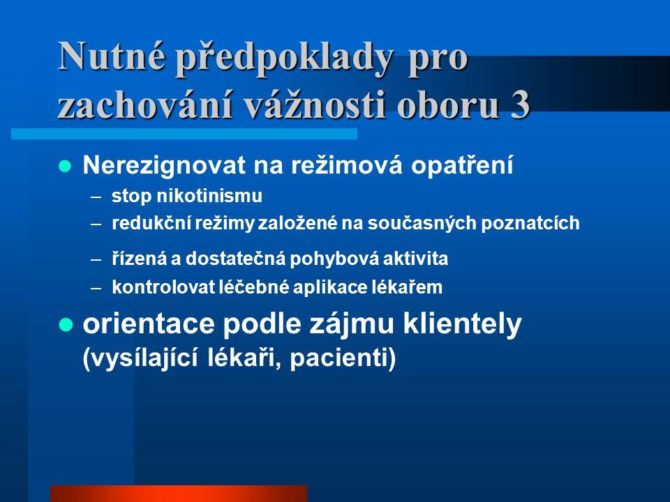 Nutné předpoklady pro zachování vážnosti oboru 3 Nerezignovat na režimová opatření –stop nikotinismu –redukční režimy založené na současných poznatcíc