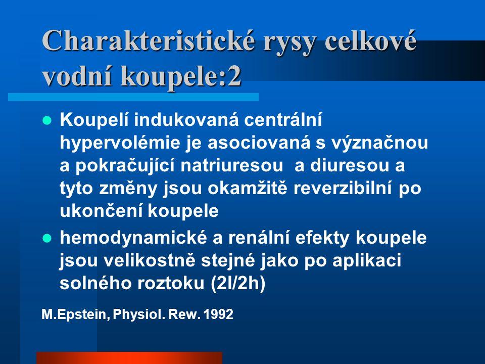 Charakteristické rysy celkové vodní koupele:8-hypertenze Vylučování kalia se nelišilo od kontrol vylučování natria bylo různé a to –skupina s výrazně vyšší natriuresou –skupina s normální natriuresou –skupina s nižší natriuresou diurésa se lišila jen málo M.Epstein, Physiol.