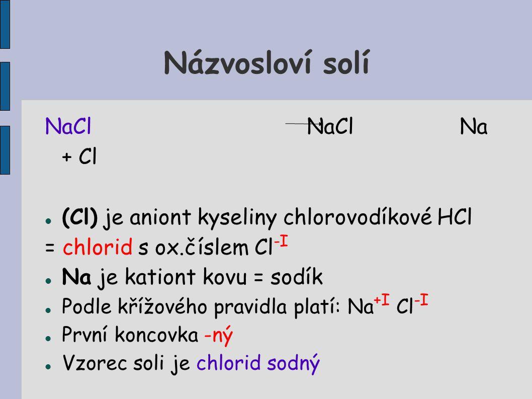 Názvosloví solí NaClNaClNa + Cl (Cl) je aniont kyseliny chlorovodíkové HCl = chlorid s ox.číslem Cl -I Na je kationt kovu = sodík Podle křížového pravidla platí: Na +I Cl -I První koncovka -ný Vzorec soli je chlorid sodný