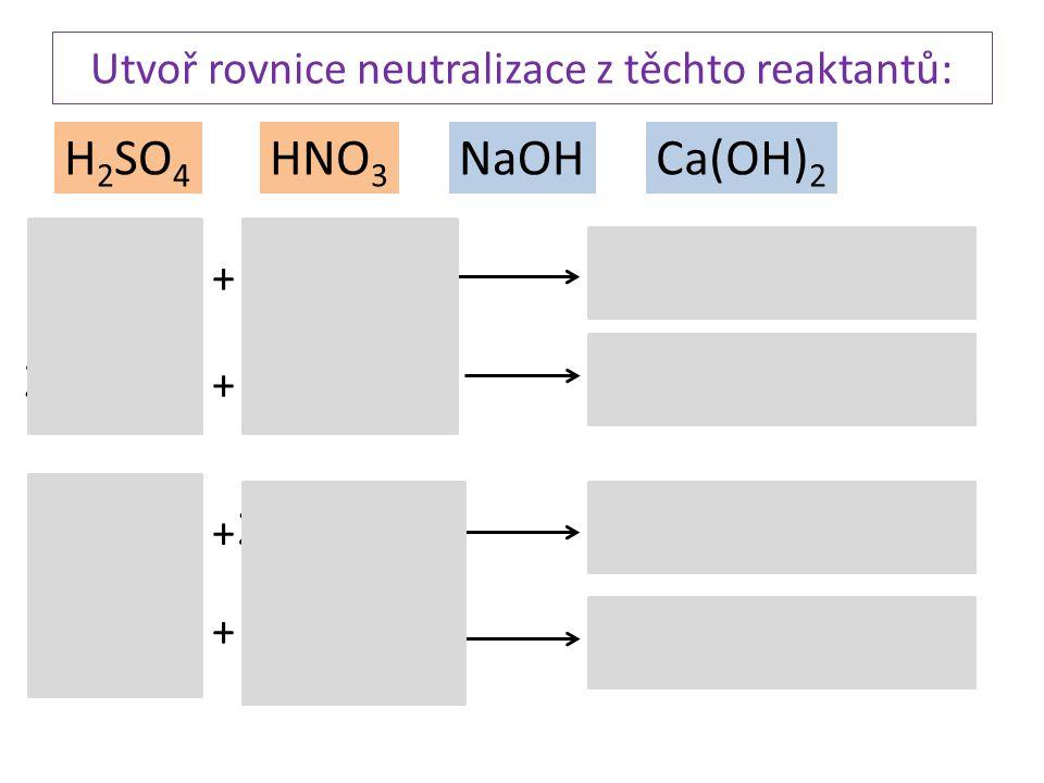 Utvoř rovnice neutralizace z těchto reaktantů: HNO 3 H 2 SO 4 Ca(OH) 2 NaOH H 2 SO 4 HNO 3 NaOH Ca(OH) 2 H 2 SO 4 + + + + + + + + H2OH2O H2OH2O H2OH2O