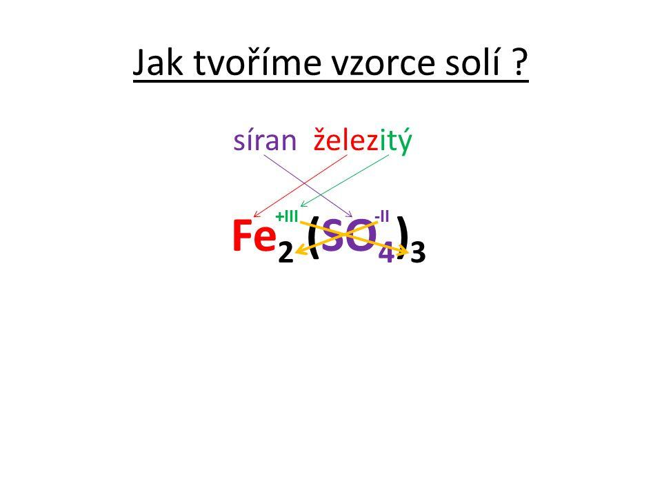 Jak tvoříme vzorce solí ? síran železitý Fe 2 (SO 4 ) 3 -II+III