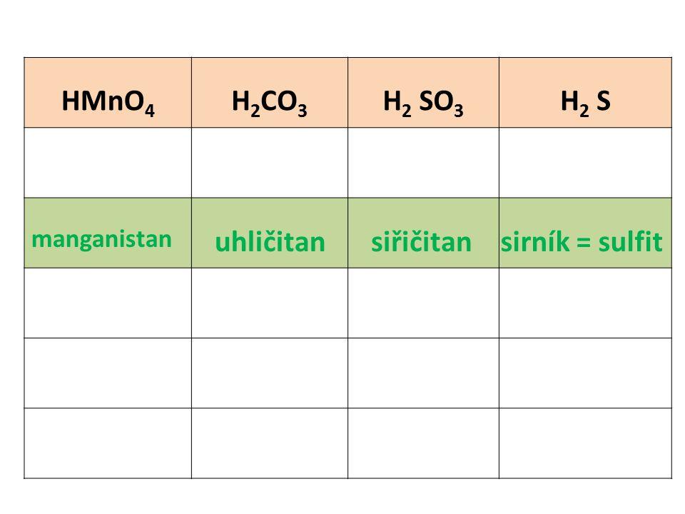 HMnO 4 H 2 CO 3 H 2 SO 3 H 2 S manganistan uhličitansiřičitansirník = sulfit