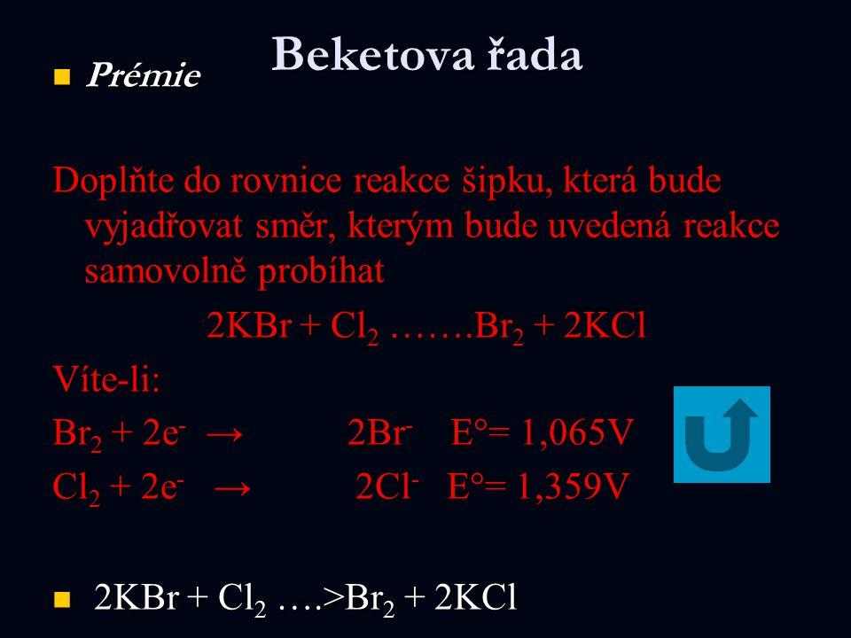 Beketova řada Prémie Prémie Doplňte do rovnice reakce šipku, která bude vyjadřovat směr, kterým bude uvedená reakce samovolně probíhat 2KBr + Cl 2 …….