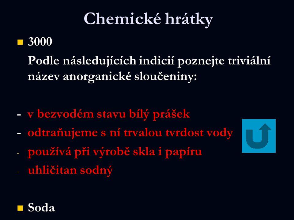 Chemické hrátky 3000 3000 Podle následujících indicií poznejte triviální název anorganické sloučeniny: - v bezvodém stavu bílý prášek - odtraňujeme s