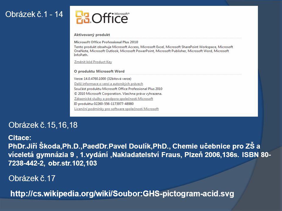 Obrázek č.1 - 14 Obrázek č.15,16,18 Citace: PhDr.Jiří Škoda,Ph.D.,PaedDr.Pavel Doulík,PhD., Chemie učebnice pro ZŠ a víceletá gymnázia 9, 1.vydání,Nakladatelství Fraus, Plzeň 2006,136s.