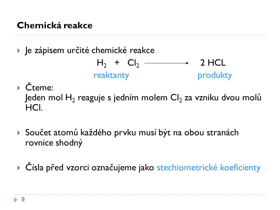 Chemická reakce  Je zápisem určité chemické reakce H 2 + Cl 2 2 HCL reaktanty produkty  Čteme: Jeden mol H 2 reaguje s jedním molem Cl 2 za vzniku dvou molů HCl.