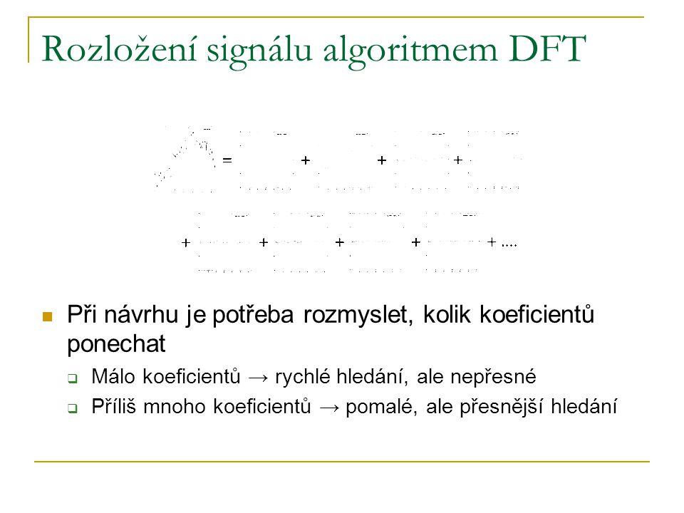 Rozložení signálu algoritmem DFT Při návrhu je potřeba rozmyslet, kolik koeficientů ponechat  Málo koeficientů → rychlé hledání, ale nepřesné  Příli