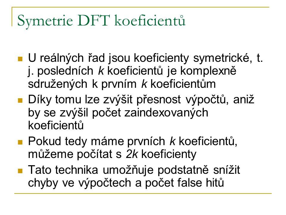 Symetrie DFT koeficientů U reálných řad jsou koeficienty symetrické, t. j. posledních k koeficientů je komplexně sdružených k prvním k koeficientům Dí