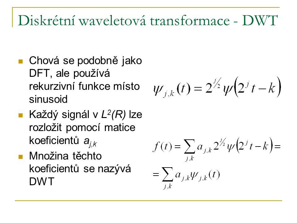 Diskrétní waveletová transformace - DWT Chová se podobně jako DFT, ale používá rekurzivní funkce místo sinusoid Každý signál v L 2 (R) lze rozložit pomocí matice koeficientů a j,k Množina těchto koeficientů se nazývá DWT