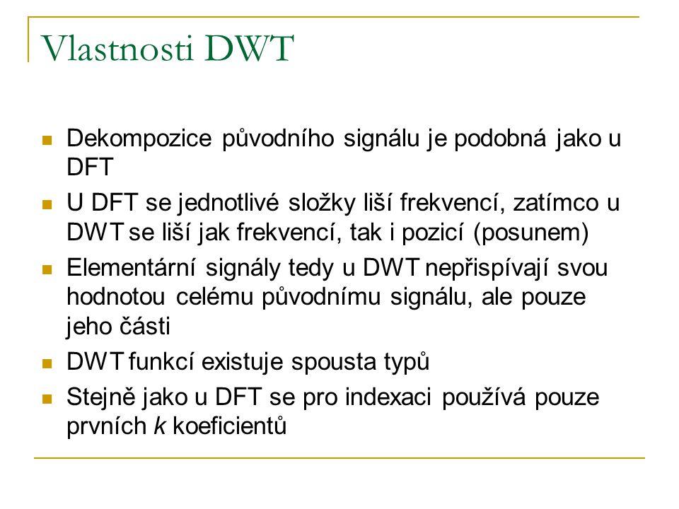 Vlastnosti DWT Dekompozice původního signálu je podobná jako u DFT U DFT se jednotlivé složky liší frekvencí, zatímco u DWT se liší jak frekvencí, tak i pozicí (posunem) Elementární signály tedy u DWT nepřispívají svou hodnotou celému původnímu signálu, ale pouze jeho části DWT funkcí existuje spousta typů Stejně jako u DFT se pro indexaci používá pouze prvních k koeficientů