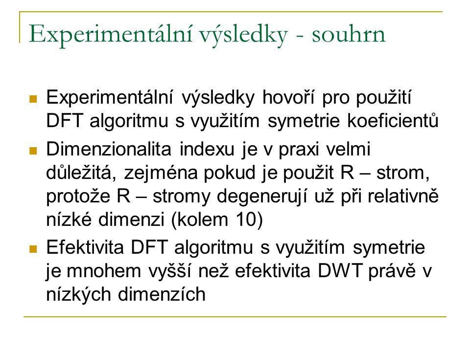 Experimentální výsledky - souhrn Experimentální výsledky hovoří pro použití DFT algoritmu s využitím symetrie koeficientů Dimenzionalita indexu je v p