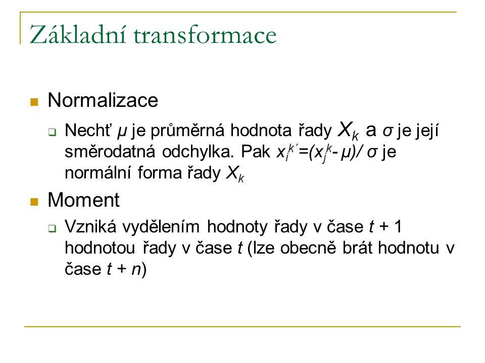 Základní transformace Normalizace  Nechť µ je průměrná hodnota řady X k a σ je její směrodatná odchylka. Pak x i k´ =(x j k - µ)/ σ je normální forma