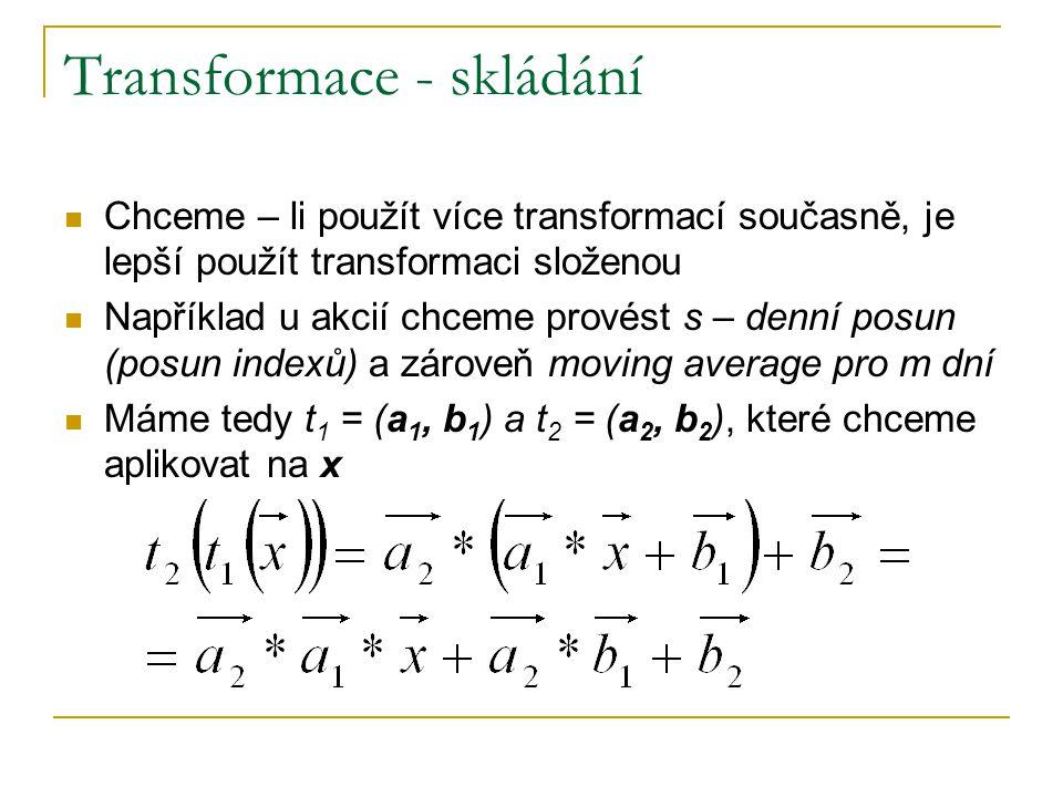 Transformace - skládání Chceme – li použít více transformací současně, je lepší použít transformaci složenou Například u akcií chceme provést s – denní posun (posun indexů) a zároveň moving average pro m dní Máme tedy t 1 = (a 1, b 1 ) a t 2 = (a 2, b 2 ), které chceme aplikovat na x