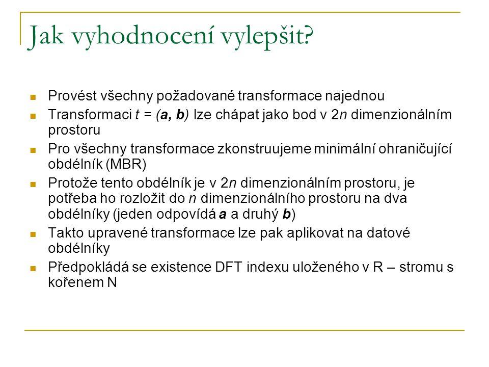 Jak vyhodnocení vylepšit? Provést všechny požadované transformace najednou Transformaci t = (a, b) lze chápat jako bod v 2n dimenzionálním prostoru Pr