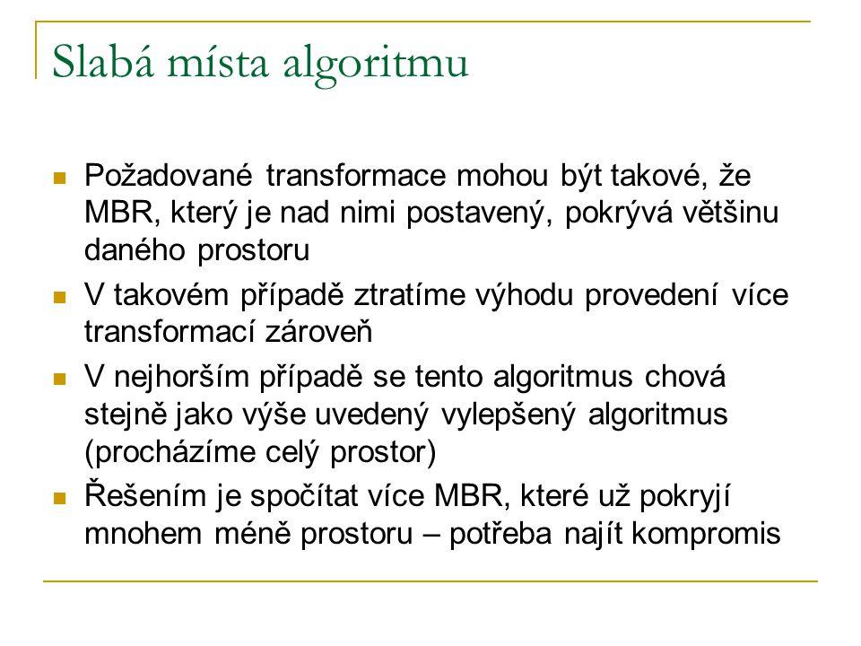 Slabá místa algoritmu Požadované transformace mohou být takové, že MBR, který je nad nimi postavený, pokrývá většinu daného prostoru V takovém případě