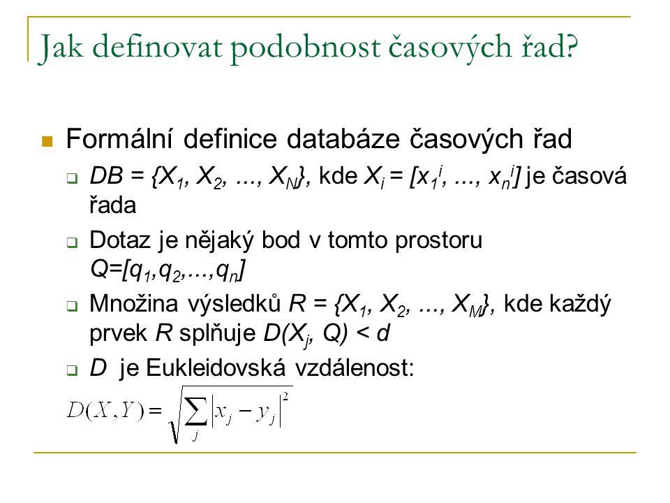 Jak definovat podobnost časových řad? Formální definice databáze časových řad  DB = {X 1, X 2,..., X N }, kde X i = [x 1 i,..., x n i ] je časová řad
