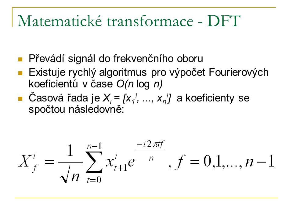 Matematické transformace - DFT Převádí signál do frekvenčního oboru Existuje rychlý algoritmus pro výpočet Fourierových koeficientů v čase O(n log n) Časová řada je X i = [x 1 i,..., x n i ] a koeficienty se spočtou následovně:
