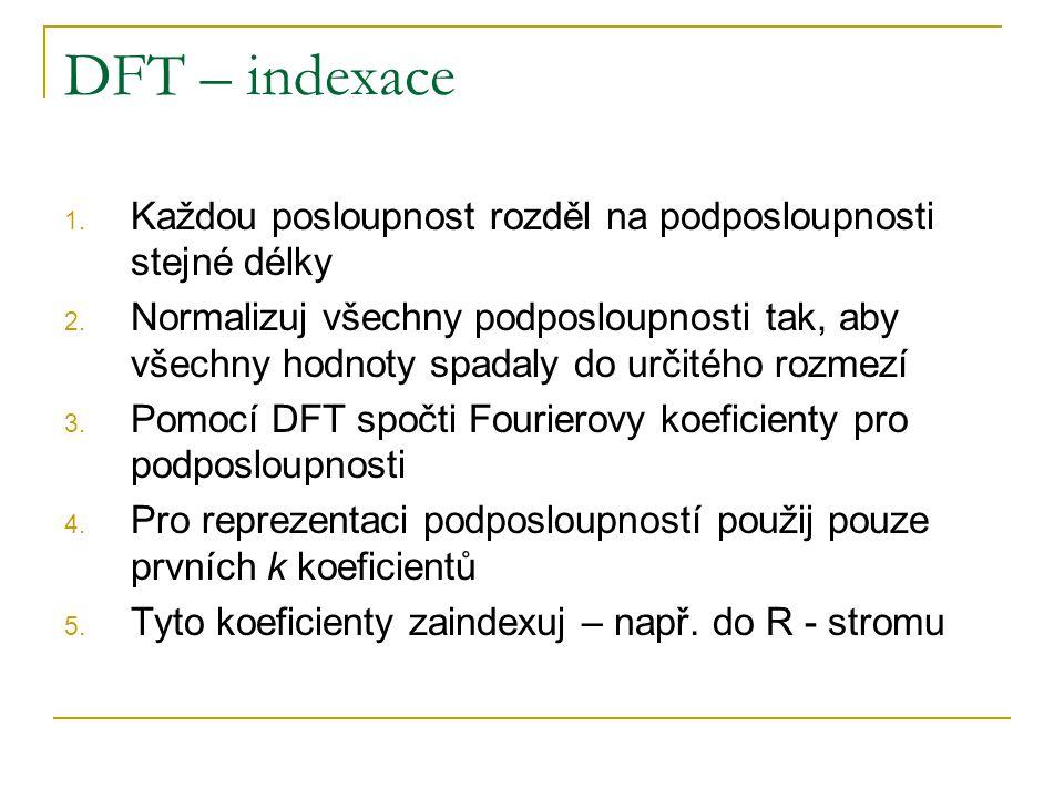 DFT – indexace 1. Každou posloupnost rozděl na podposloupnosti stejné délky 2. Normalizuj všechny podposloupnosti tak, aby všechny hodnoty spadaly do