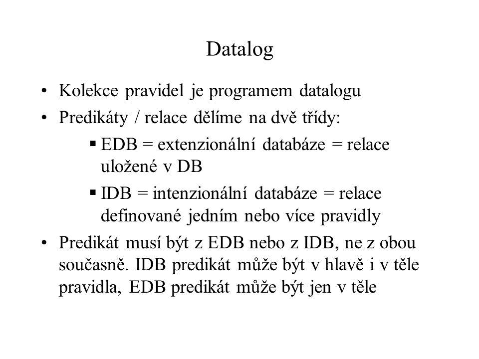 Datalog Kolekce pravidel je programem datalogu Predikáty / relace dělíme na dvě třídy:  EDB = extenzionální databáze = relace uložené v DB  IDB = intenzionální databáze = relace definované jedním nebo více pravidly Predikát musí být z EDB nebo z IDB, ne z obou současně.