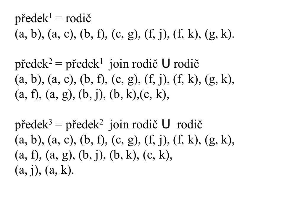 předek 1 = rodič (a, b), (a, c), (b, f), (c, g), (f, j), (f, k), (g, k). předek 2 = předek 1 join rodič U rodič (a, b), (a, c), (b, f), (c, g), (f, j)