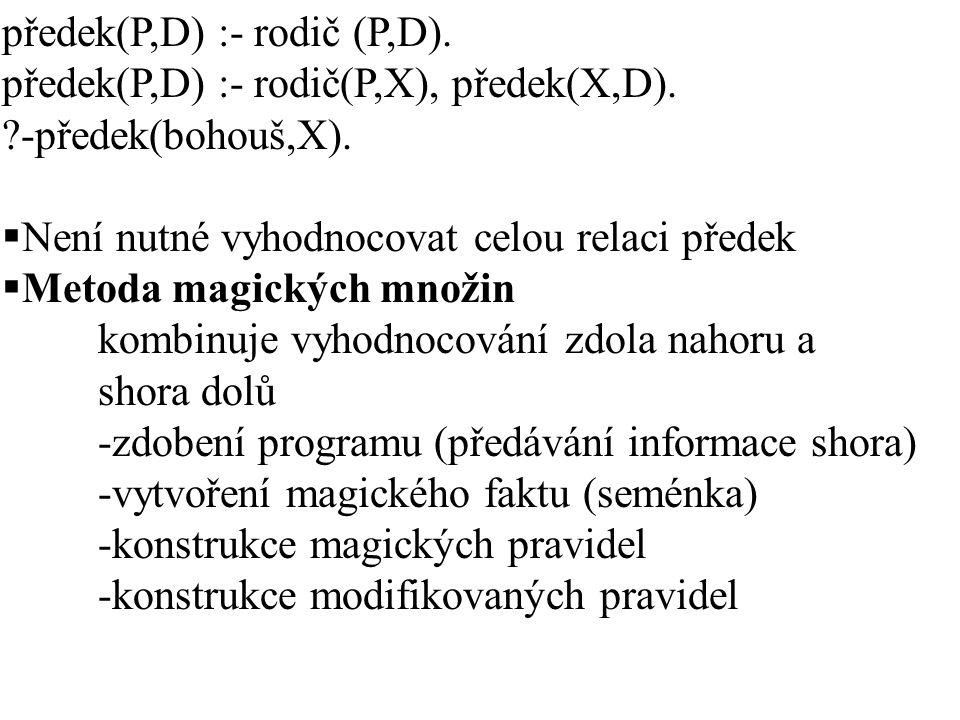 předek(P,D) :- rodič (P,D).předek(P,D) :- rodič(P,X), předek(X,D).