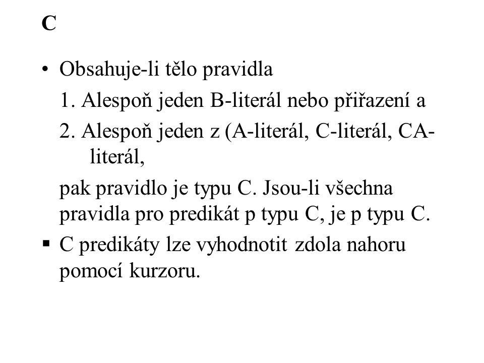 C Obsahuje-li tělo pravidla 1. Alespoň jeden B-literál nebo přiřazení a 2. Alespoň jeden z (A-literál, C-literál, CA- literál, pak pravidlo je typu C.