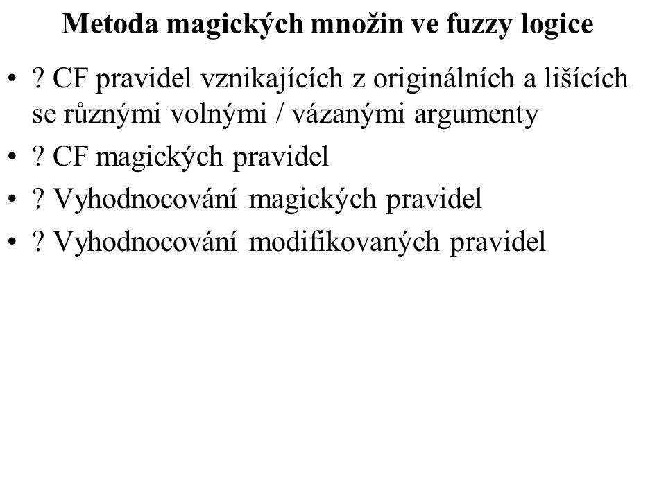 Metoda magických množin ve fuzzy logice ? CF pravidel vznikajících z originálních a lišících se různými volnými / vázanými argumenty ? CF magických pr