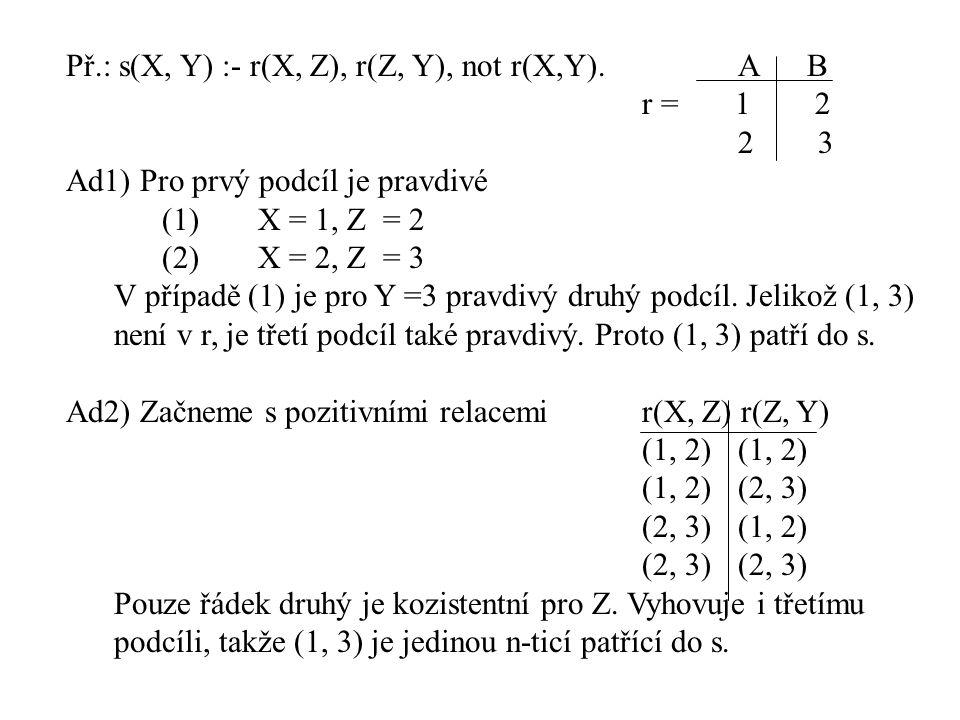 Př.: s(X, Y) :- r(X, Z), r(Z, Y), not r(X,Y). A B r = 1 2 2 3 Ad1) Pro prvý podcíl je pravdivé (1)X = 1, Z = 2 (2)X = 2, Z = 3 V případě (1) je pro Y