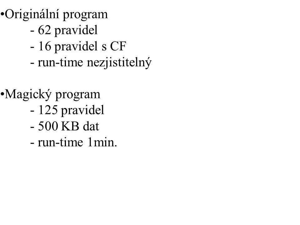 Originální program - 62 pravidel - 16 pravidel s CF - run-time nezjistitelný Magický program - 125 pravidel - 500 KB dat - run-time 1min.