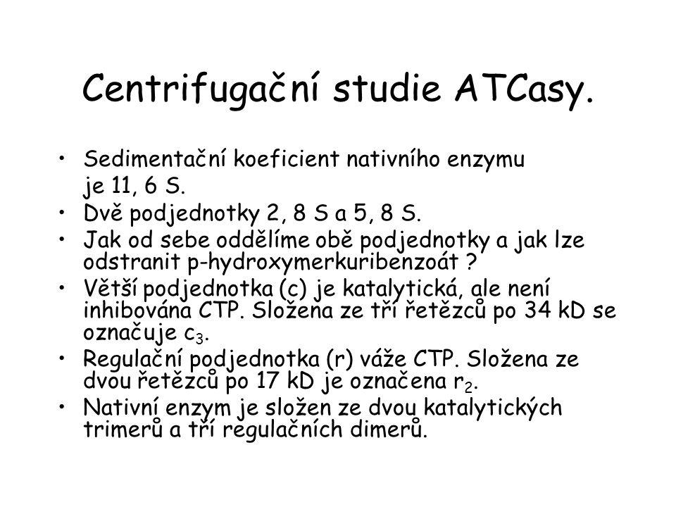 Centrifugační studie ATCasy.Sedimentační koeficient nativního enzymu je 11, 6 S.