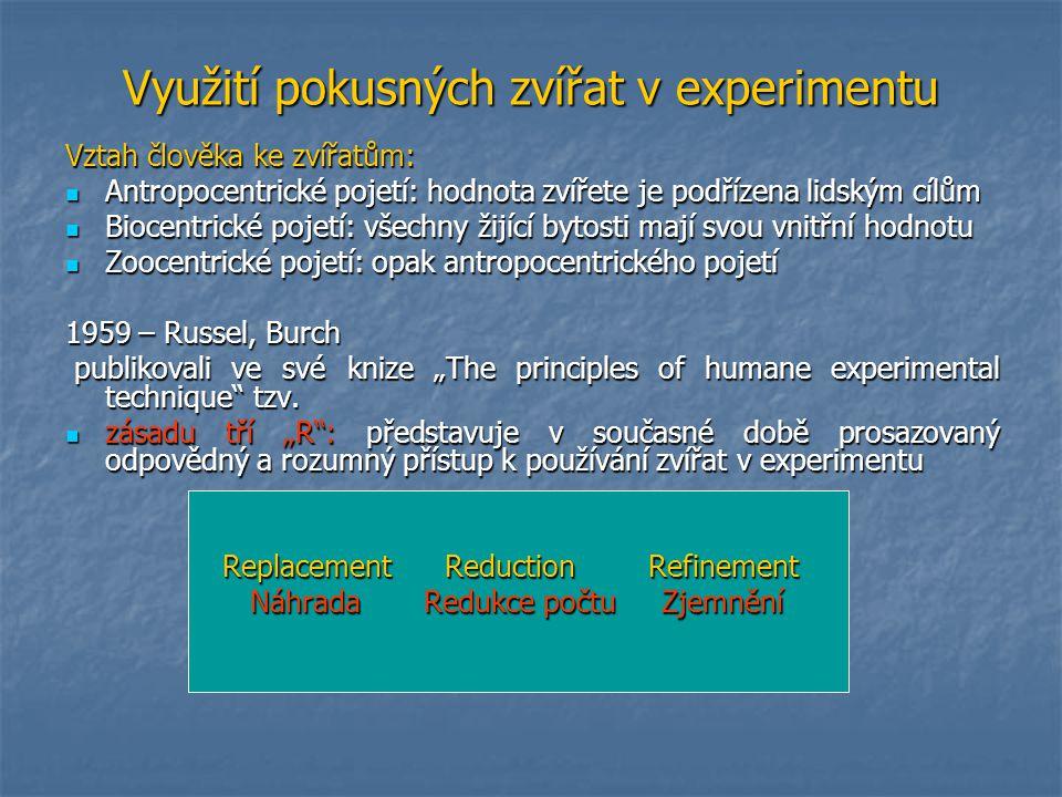 Využití pokusných zvířat v experimentu Vztah člověka ke zvířatům: Antropocentrické pojetí: hodnota zvířete je podřízena lidským cílům Antropocentrické