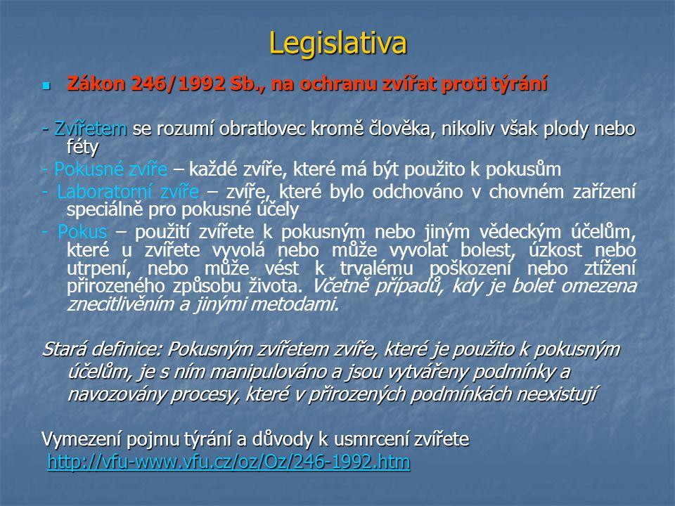 Legislativa Zákon 246/1992 Sb., na ochranu zvířat proti týrání Zákon 246/1992 Sb., na ochranu zvířat proti týrání - Zvířetem se rozumí obratlovec krom