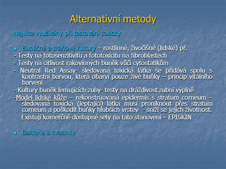 Další možnosti alternativních metod Počítačové modely Počítačové modely Neinvazivní zobrazování (CT, NMR) Neinvazivní zobrazování (CT, NMR) Kuřecí embrya – testy terotogenity Kuřecí embrya – testy terotogenity Placenty (model pro mikrochirurgii, transport léků) Placenty (model pro mikrochirurgii, transport léků) Výzkum populace (strava – ateroskleróza) Výzkum populace (strava – ateroskleróza) Využití bezobratlých Využití bezobratlých Vajíčka drápatek na testy teratogenity Vajíčka drápatek na testy teratogenity