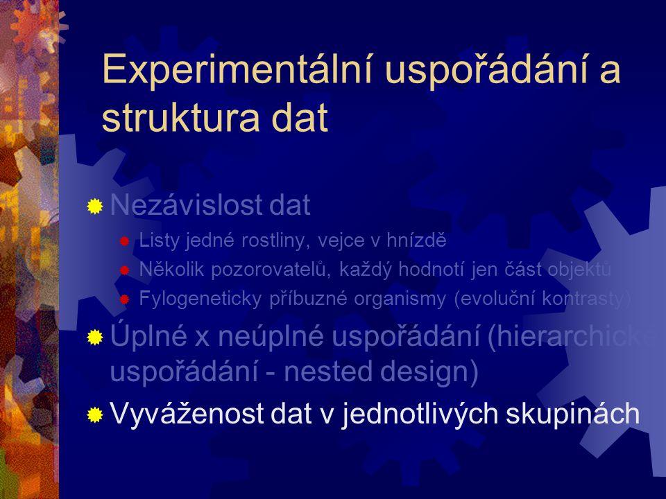 Experimentální uspořádání a struktura dat  Nezávislost dat  Listy jedné rostliny, vejce v hnízdě  Několik pozorovatelů, každý hodnotí jen část obje