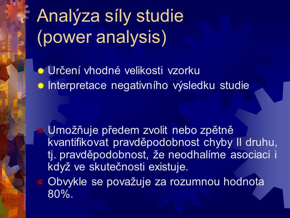 Analýza síly studie (power analysis)  Určení vhodné velikosti vzorku  Interpretace negativního výsledku studie Umožňuje předem zvolit nebo zpětně kv