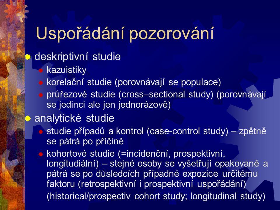 Uspořádání pozorování  deskriptivní studie  kazuistiky  korelační studie (porovnávají se populace)  průřezové studie (cross–sectional study) (poro
