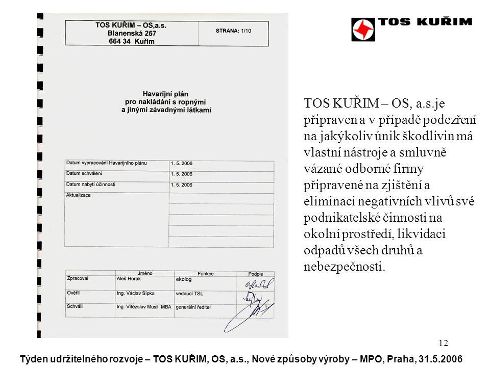 12 Týden udržitelného rozvoje – TOS KUŘIM, OS, a.s., Nové způsoby výroby – MPO, Praha, 31.5.2006 TOTO je pokusné pole TOS KUŘIM – OS, a.s.je připraven a v případě podezření na jakýkoliv únik škodlivin má vlastní nástroje a smluvně vázané odborné firmy připravené na zjištění a eliminaci negativních vlivů své podnikatelské činnosti na okolní prostředí, likvidaci odpadů všech druhů a nebezpečnosti.