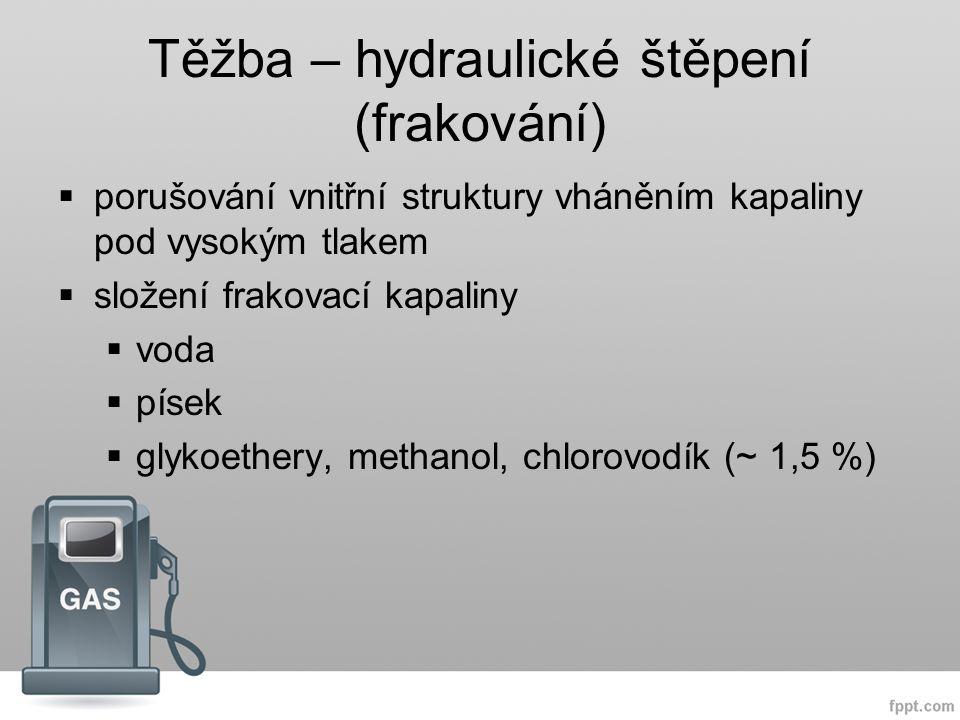 Těžba – hydraulické štěpení (frakování)  porušování vnitřní struktury vháněním kapaliny pod vysokým tlakem  složení frakovací kapaliny  voda  písek  glykoethery, methanol, chlorovodík (~ 1,5 %)