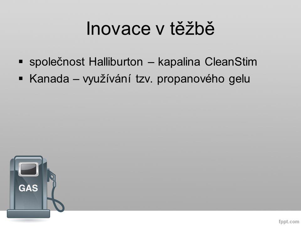 Inovace v těžbě  společnost Halliburton – kapalina CleanStim  Kanada – využívání tzv.