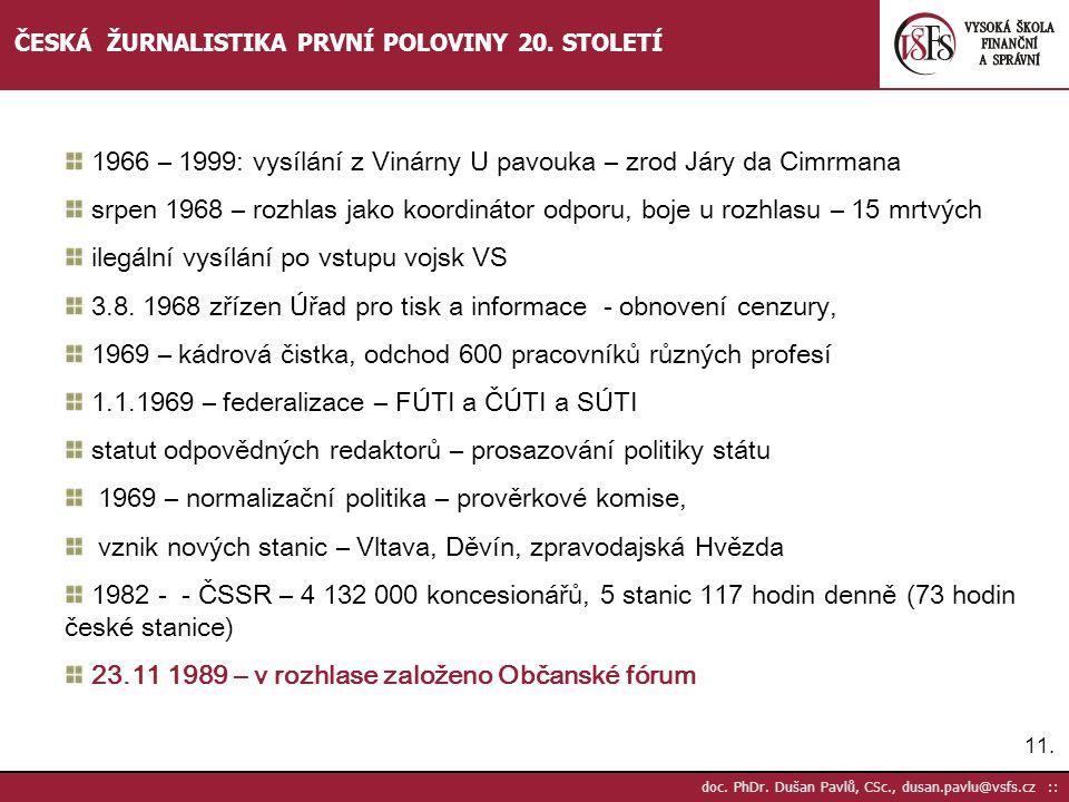 11.doc. PhDr. Dušan Pavlů, CSc., dusan.pavlu@vsfs.cz :: ČESKÁ ŽURNALISTIKA PRVNÍ POLOVINY 20.