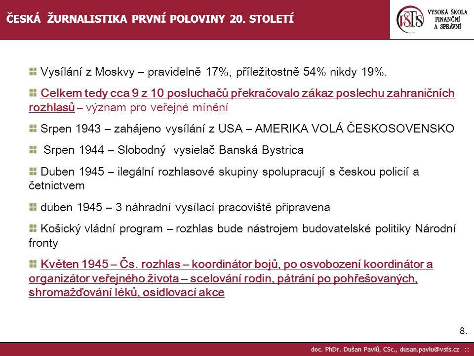 8.8. doc. PhDr. Dušan Pavlů, CSc., dusan.pavlu@vsfs.cz :: ČESKÁ ŽURNALISTIKA PRVNÍ POLOVINY 20. STOLETÍ Vysílání z Moskvy – pravidelně 17%, příležitos