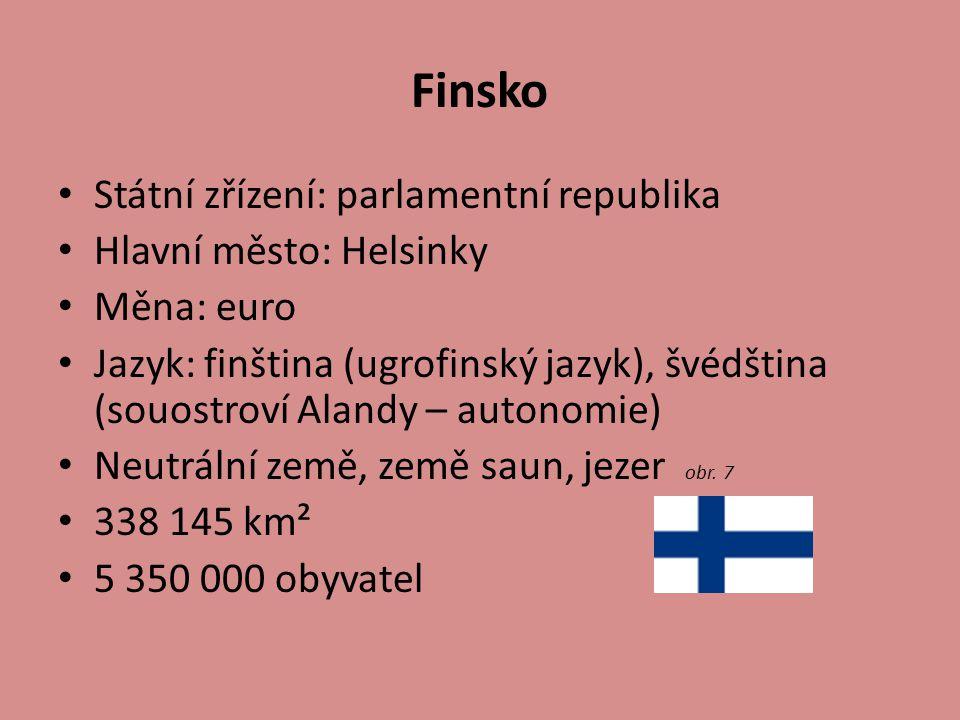 Finsko Státní zřízení: parlamentní republika Hlavní město: Helsinky Měna: euro Jazyk: finština (ugrofinský jazyk), švédština (souostroví Alandy – auto
