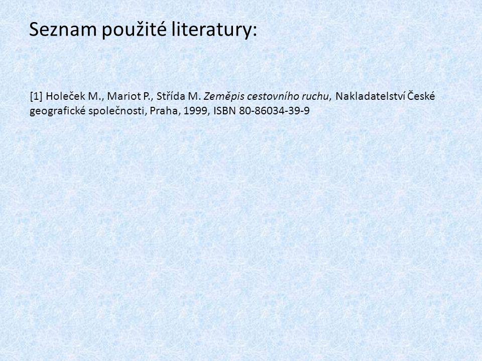 Seznam použité literatury: [1] Holeček M., Mariot P., Střída M. Zeměpis cestovního ruchu, Nakladatelství České geografické společnosti, Praha, 1999, I