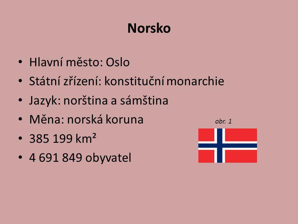 Norsko Hlavní město: Oslo Státní zřízení: konstituční monarchie Jazyk: norština a sámština Měna: norská koruna obr. 1 385 199 km² 4 691 849 obyvatel