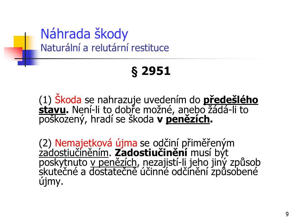 9 Náhrada škody Naturální a relutární restituce § 2951 (1) Škoda se nahrazuje uvedením do předešlého stavu.